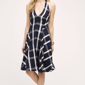 Eva Franco Plaid Linen Navy Halter Dress